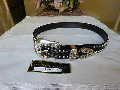 ST. MAARTEN Women's Black Croc Embossed Leather Studded Belt Size S -Made in USA