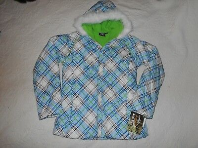 Girls Pacific Trail puffy jacket  XL 16 blue green gry plaid 2F11603 NWT