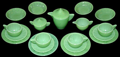 Akro Agate Interior Panel Large Jade Luster / Child's Set With Bowls GREAT COLOR