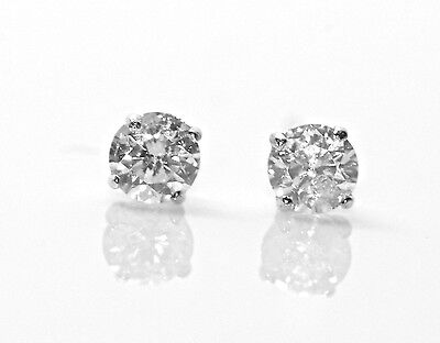 0.12Ct Round Cut Diamond Stud Earrings 100% Natural 14K White Gold New