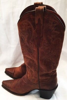 Dan Post Western Cowboy Boots Shoes Womens Size 7.5 Brown Leather Slip On Boots