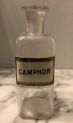 Antique Camphor Pharmacy Apothecary Label Under Glass Bottle