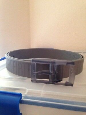 """Mens Gray Rubber Plastic Fiat Belt Made In Italy By Tie Ups 43"""" 46"""" Adjustable"""
