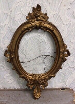 "Antique Ornate Gold Victorian Cast Iron Beveled Glass Picture Frame 17"" X 12"""