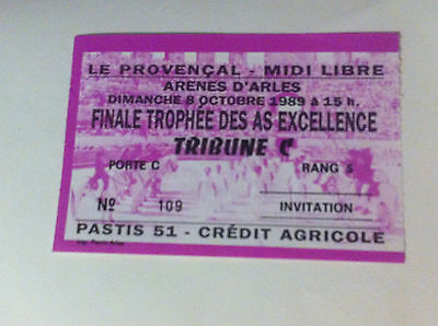 billet course finale trophee des as excellence arene d'arles 8 octobre 1989