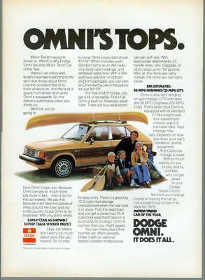1978 Dodge Omni Motor Trend Car of the Year Canoe Yellow Vintage Print Ad 70s