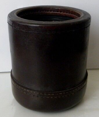 Vintage Sewn Leather Dice Cup With Ribbed In Sides