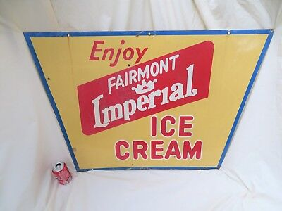 "Vintage Large 39""x27"" ENJOY FAIRMONT IMPERIAL ICE CREAM Metal Advertising Sign"