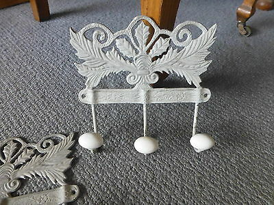 3 Coat Hook rack metal ceramic French provincial country country chic hat peg