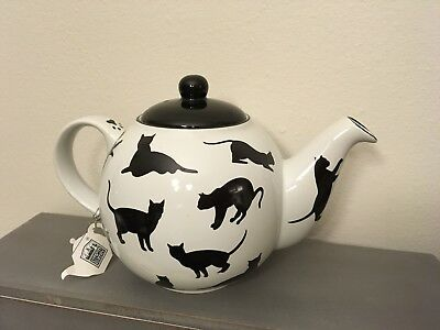 Black Cats On White Ceramic Teapot - Designed In Britian - Brand New with tags!