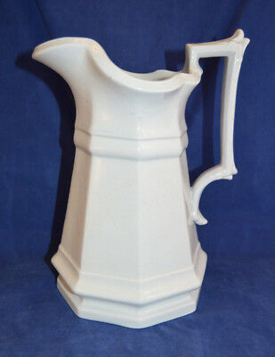 Large Vintage White Ironstone Octagonal Pitcher - Mayer's - 10 inch