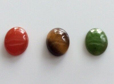 OVAL SHAPE CABOCHON NATURAL JADE/TIGERS EYE/CARNELIA 10x8MM 3 PC LOOSE GEMSTONES