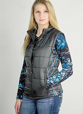 Black with Blue Camo Womens Lightweight Warm Vest for Fall & Winter