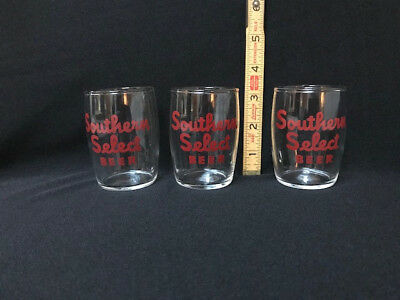 Southern Select Beer barrel glasses with red lettering, Lot of 3