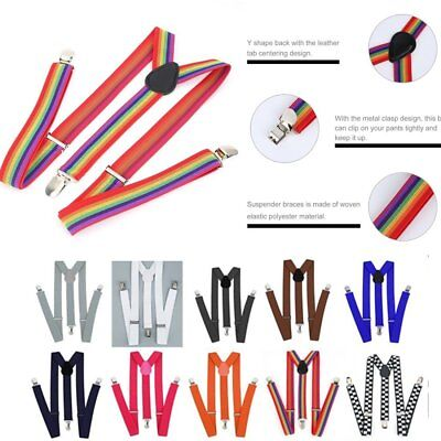 Fashion Unisex Elastic Y-Shape Braces Mens Womens Adjustable Clip Suspenders UT
