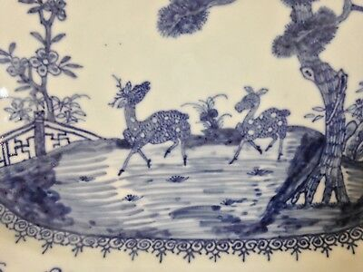 Antique Chinese Blue & White Porcelain Platter With Two Deer