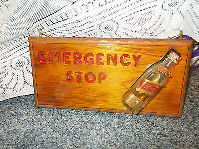 A Bar Sign Emergency Stop With Whisky Bottle  Great Bar Item Or For Mans Cave.