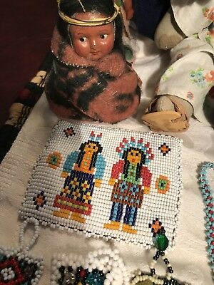 Vintage Native American Seed Bead Necklaces, Doll, Apache Tie, Bracelets & More