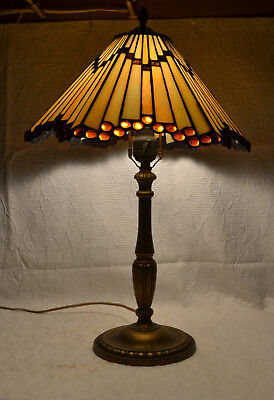 Beautiful Antique Iridescent Stained Glass Desk Lamp Jewels Gold Base Geometric