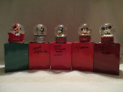 Lot of 5 JC Penney Mickey Mouse  Mini Snow Globes Disney Collectible