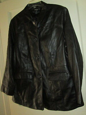 18W Style & Co So Soft Black Button Front LS Leather Jacket Excellent!