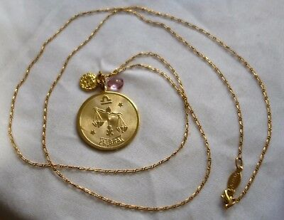 "A.V. Max ""Horoscope"" Libra Coin and Teardrop Stone Pendant Necklace, 36"""