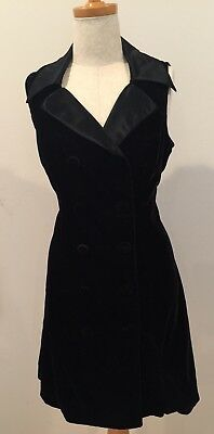 Vtg R Wear Rampage Dress Black Velvet 80s Holiday Party 90s Collared Buttons Tie