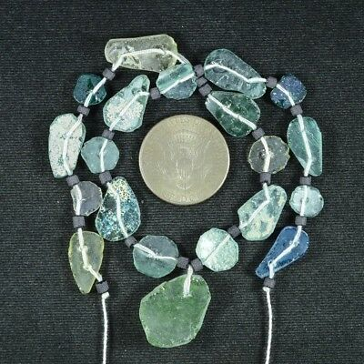 Ancient Roman Glass Beads 1 Medium Strand Aqua And Green 100 -200 Bc 712