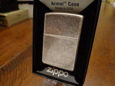 Antique Silver Plate Armor Zippo Lighter Mint In Box 2015