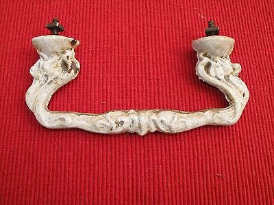 Large Antique Cast Iron Victorian Ornate Drawer Pull Handle White Paint 6 1/8""