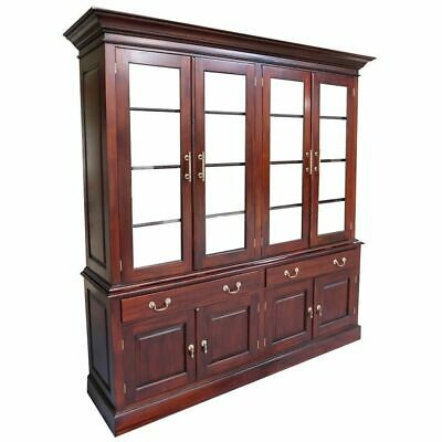 Antique Victorian Style Solid Mahogany Large 4 Door Display Cabinet