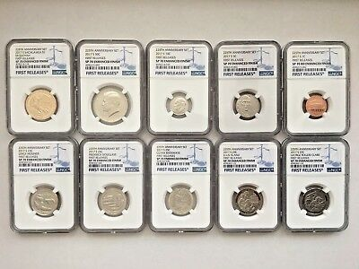 2017-S 225th Anniversary Enhanced Uncirculated Coin Set NGC SP70 First Releases