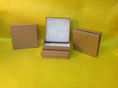 """100 Brown Kraft Cotton Filled Jewelry Gift Boxes 3 1/2"""" X 3 1/2""""  Box"""