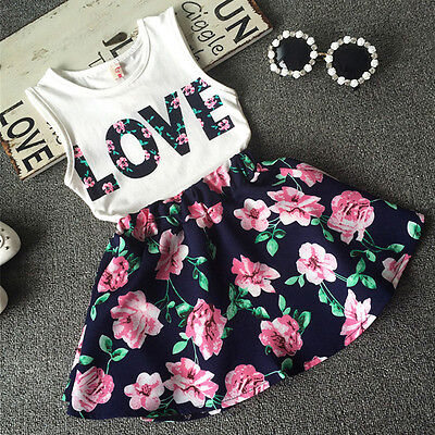 Toddler Baby Kids Girls Dress Tank Vest Tops T-Shirt+Skirt Outfit Set Clothes US