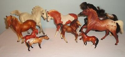 Breyer Reeves Lot of 9 Horse Figures 5 Large 1 Colt 3 Small Variety of Breeds