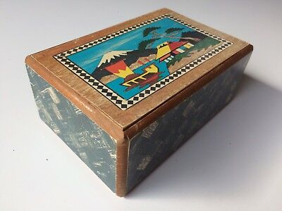 Two-Sided Vintage Japanese Puzzle Box | Mt. Fuji, Bird, and Flower| 5 Sun?