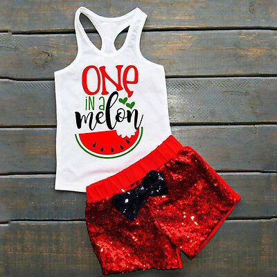 US Newborn Baby Kids Girl Toddler Tank Top Vest+Shorts Pants Outfits Clothes Set