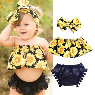 US Newborn Baby Girl Kids Romper Bodysuit Jumpsuit Sunsuit Outfits Clothes Set