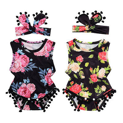 US Newborn Infant Baby Girl Romper Jumpsuit Bodysuit Headband Clothes Outfit Set