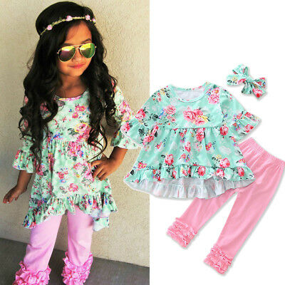 USA Toddler Kids Baby Girls Floral Tops Pants Headband Outfits Set Clothes 2-7T