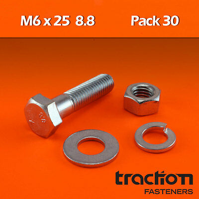 M6 x 25 Hex Bolt Nut Washer Spring High Tensile 8.8 Metric 6mm 25mm ZP Screw
