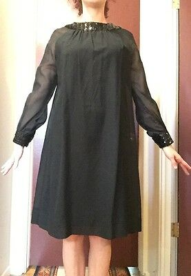 Vintage Black Dress From The 1970S With Sequin Embellishments Today's Size 6