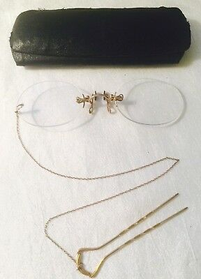 ANTIQUE 12K Gold Filled HARDY PINCE NEZ. Spectacles w/ Hairpin Chain & Case