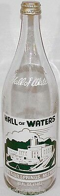 Vintage soda pop bottle HALL OF WATERS Excelsior Springs Missouri 32oz with cap
