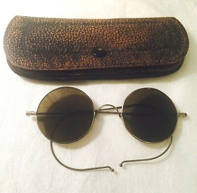 Antique / Vintage Silver Tone HIPPIE LOOK Green WILLSON Sunglasses with Case