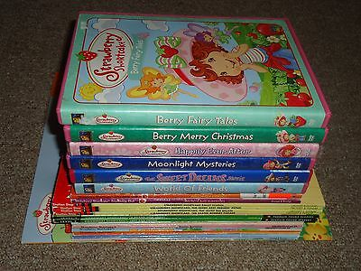 Lot 23 Strawberry Shortcake 17 Books 6 DVDs Stickers Readers Berry Fairy Tales
