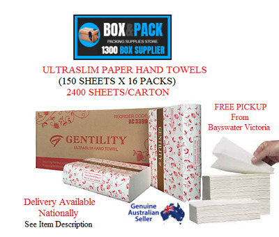 Gentility Ultraslim Paper Hand Towels (150 Sheets X 16 Packs) 2400 Sheets/carton
