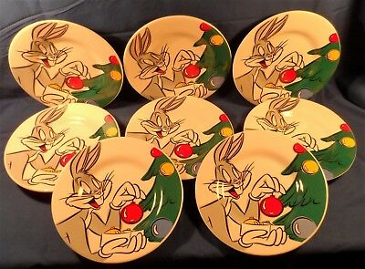 """Warner Brothers Bugs Bunny Christmas Plates Ceramic Set of 8 8 1/2"""" CUTE!"""