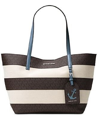 d85dc6887752 New Michael Kors Striped Canvas Large Jet Set E W Tote bag anchor brown  denim
