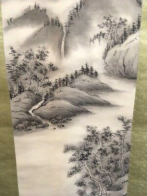 Vintage Japanese hanging Scroll art painting Showa period Landscape painting